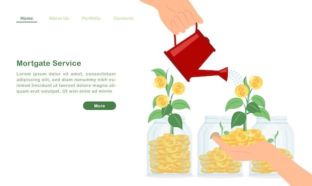 Landingpage, die wasser zum geldbaum gießt, der wohlhabendes goldenes münzsprosskonzept wächst Premium Vektoren