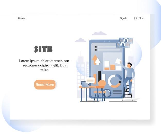 Landingpage-fahnenschablone der webentwicklervektorwebsite
