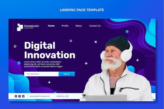 Landingpage für abstrakte technologie mit farbverlauf