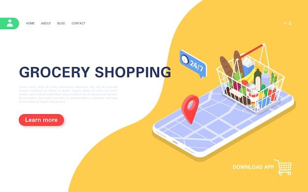 Landingpage für die bestellung von produkten über die mobile app mit lieferung nach hause