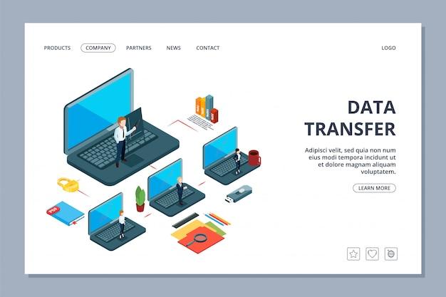 Landingpage für die datenübertragung. webseite zur isometrischen informationsübertragung. geschäftsteam, lokales netzwerk