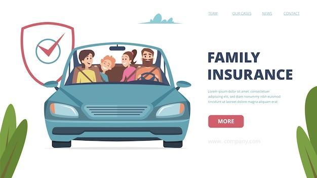 Landingpage für familienversicherungen. versicherung mit glücklicher familie im auto. karikatureltern mit kinderillustration. familienversicherung und -schutz, betriebswirtschaftliche betreuung gegen unfälle