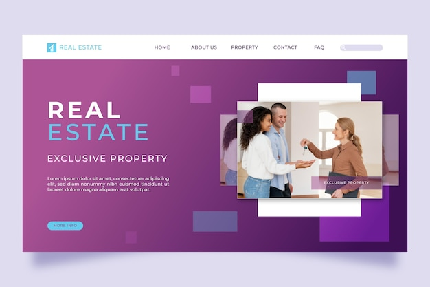 Landingpage für immobilien mit farbverlauf