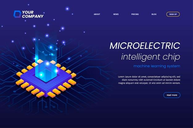 Landingpage für mikroelektronikschaltungen mit leuchtend blauen lichtperlen. chip-landingpage für künstliche intelligenz.