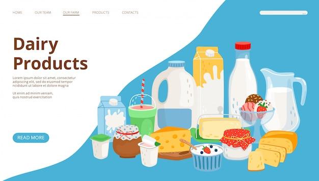Landingpage für milchprodukte