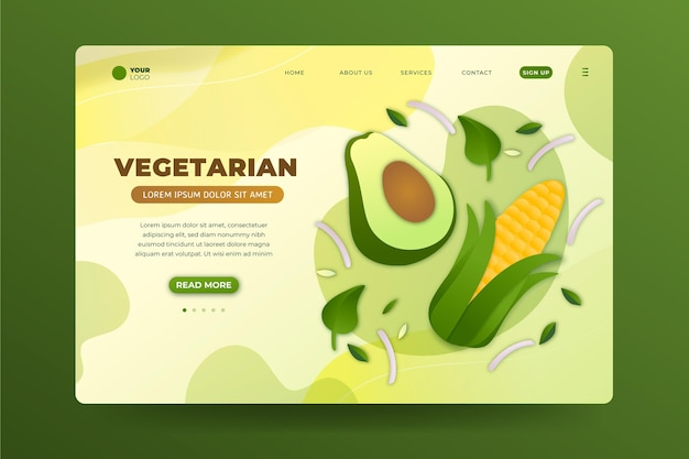 Landingpage für vegetarisches essen mit farbverlauf