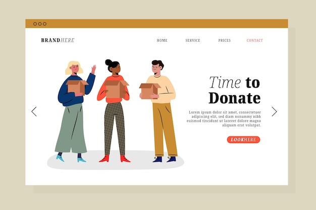 Landingpage für wohltätigkeitszwecke für kleidungsspenden