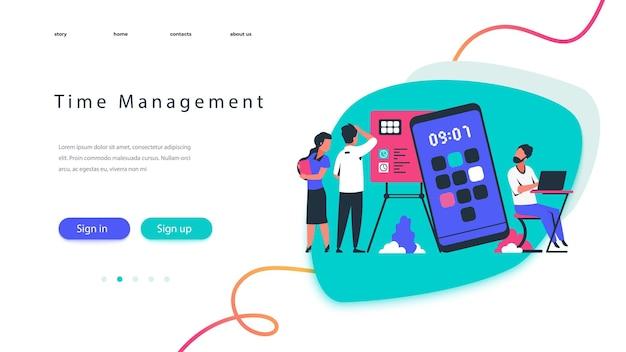 Landingpage für zeitmanagement. teamarbeitskonzept mit geschäftsleuten, die workflow planen. vector illustration moderne optimierung der zeitorganisation und zeitplanplanungs-webseite