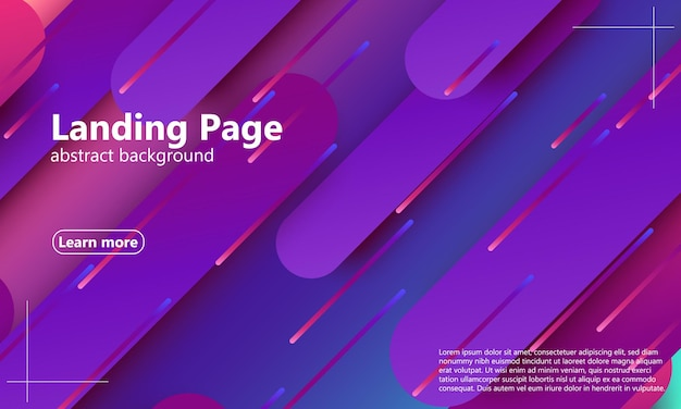 Landingpage. helle farben. geometrischer hintergrund. abstraktes cover-design. komposition dynamischer formen. trendiges farbverlaufsplakat. vektor-illustration.