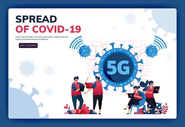 Landingpage-illustration einer 5g-internetverbindung zur unterstützung von aktivitäten während der covid-19-virus-pandemie.