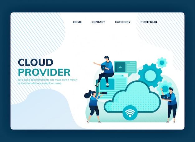 Landingpage-illustration für cloud-anbieter für netzwerk