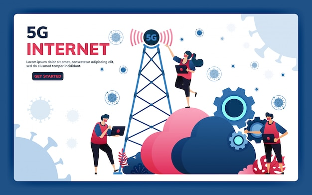 Landingpage-illustration von 5g-infrastruktur- und internet-netzwerkverbindungen für aktivitäten und arbeiten während covid-19