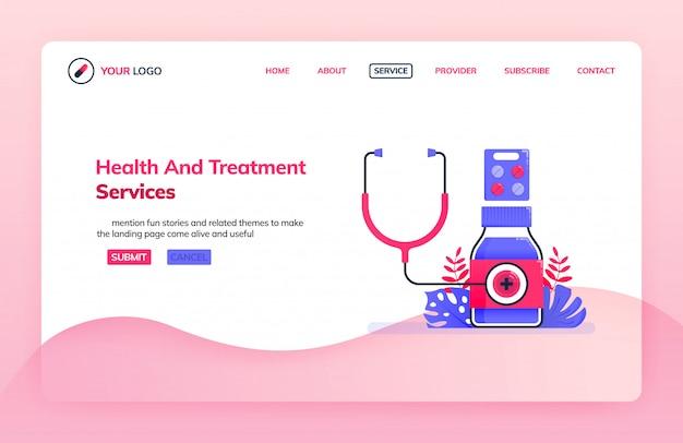 Landingpage illustration vorlage des allgemeinen gesundheits- und behandlungsdienstes für krankenhäuser