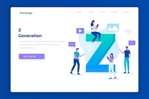 Landingpage-illustrationskonzept der z-generation. illustration für websites, landing pages, mobile anwendungen, poster und banner.