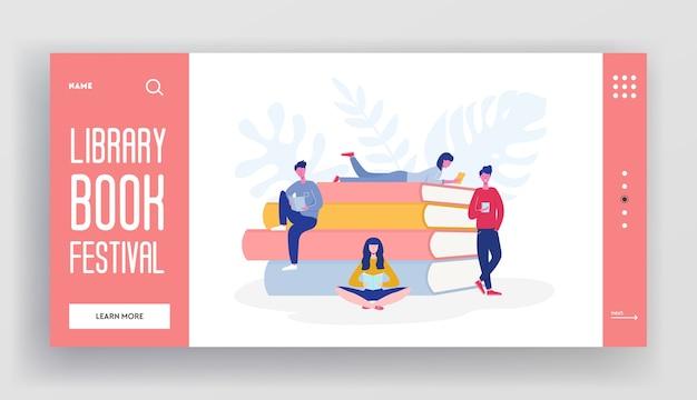Landingpage-konzept des buchfestivals von personencharakteren, die bücher und ein riesiges gestapeltes buch lesen. website-vorlage für medienbibliothek, e-book zum studium der e-bibliothek, design von webseitenillustrationen.