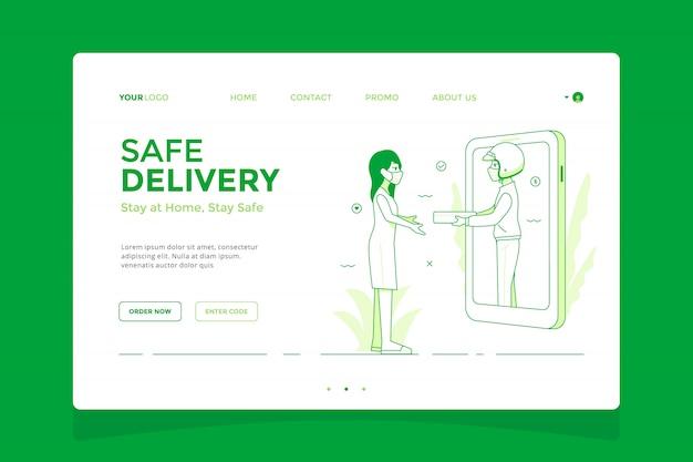 Landingpage-konzept für sichere lieferung, online-shopping bleibt zu hause