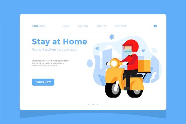 Landingpage-konzept für sichere lieferung, online-shopping-illustration für den aufenthalt zu hause