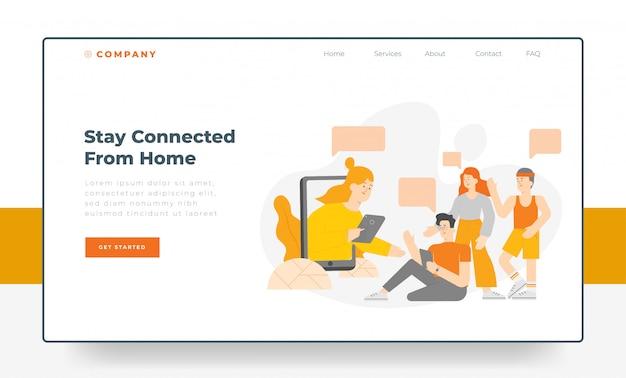 Landingpage-konzept mit flacher illustration von personen, die sich online treffen und mit dem gadget in verbindung bleiben