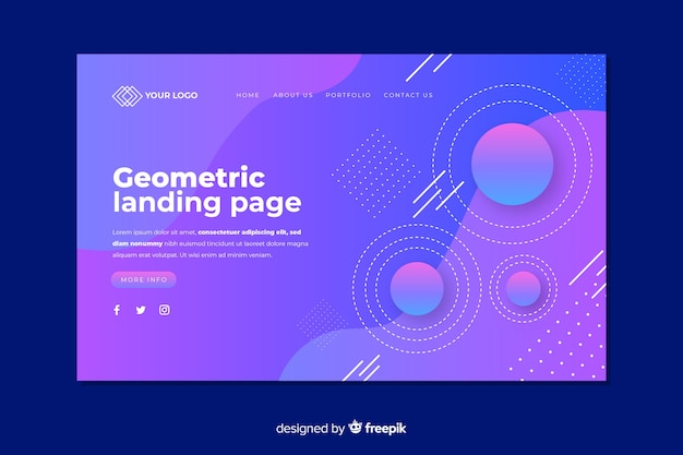 Landingpage-konzept mit geometrischen formen