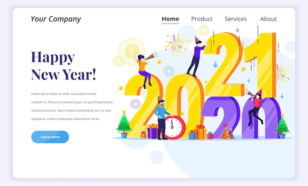 Landingpage-konzept von happy new year.