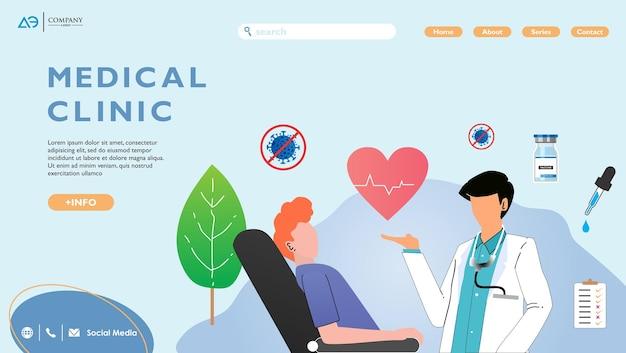 Landingpage-konzept von online medicine and healthcare für die entwicklung von websites und mobilen websites