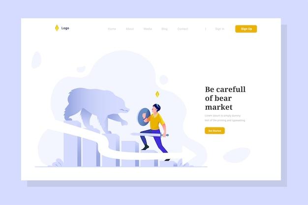 Landingpage-mann angegriffener bärengewinnverlust und finanzieller down-charakter flache design-ilustration