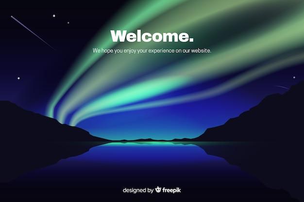 Landingpage mit farbverlauf aurora borealis