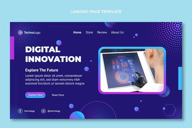Landingpage mit farbverlaufshalbtontechnologie Premium Vektoren