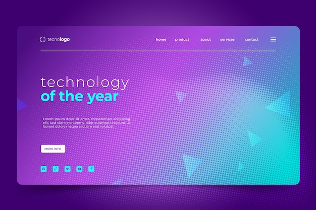 Landingpage mit farbverlaufshalbtontechnologie