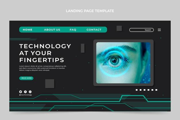 Landingpage mit flachem design und minimaler technologie