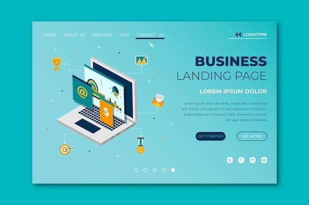 Landingpage mit laptop-vorlage