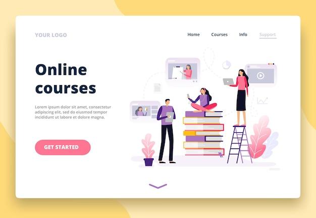Landingpage mit online-bildung im flat design