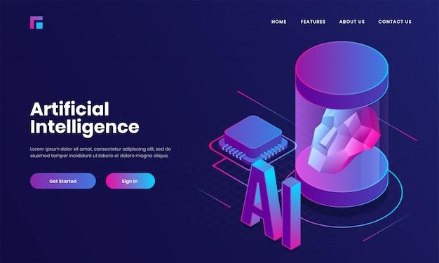 Landingpage- oder webplakatdesign mit 3d-text ai, prozessorchip und menschlichem robotergesicht für konzept der künstlichen intelligenz (ai).
