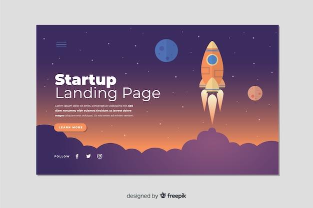 Landingpage-start mit rakete