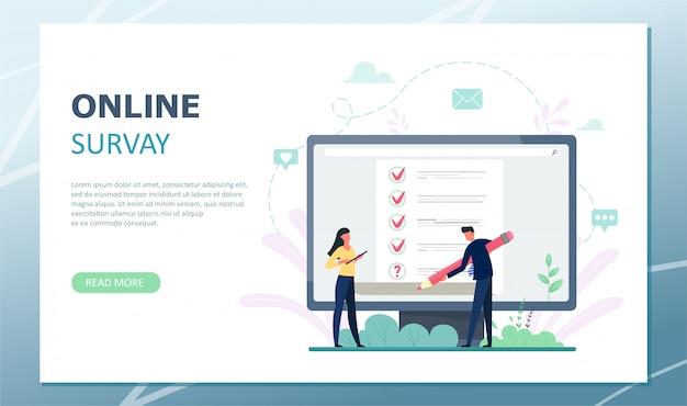 Landingpage umfrage illustration. konzept von flachen mini-personen mit qualitätskontrolle und zufriedenheitsbericht. kundenrezensionen oder meinungsformular.