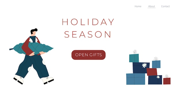 Landingpage-vorlage der winterferienzeit mit handgezeichnetem personencharakter mit weihnachtsbaumgeschenken und geschenkbox