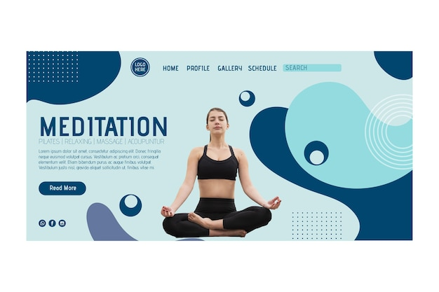 Landingpage-vorlage der yoga-klasse mit foto