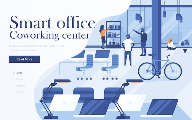 Landingpage-vorlage des coworking centers. team von jungen leuten, die im arbeitsbereich zusammenarbeiten. moderne webseite für website und mobile website. illustration