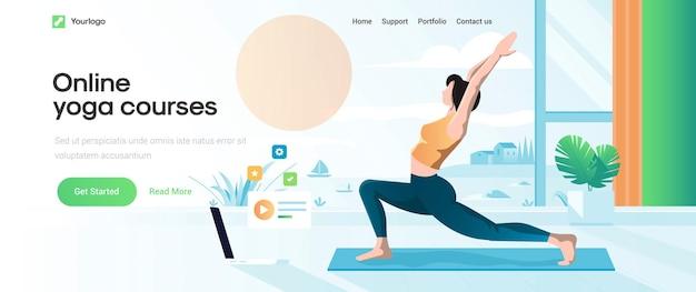 Landingpage-vorlage des online-yoga-kurses