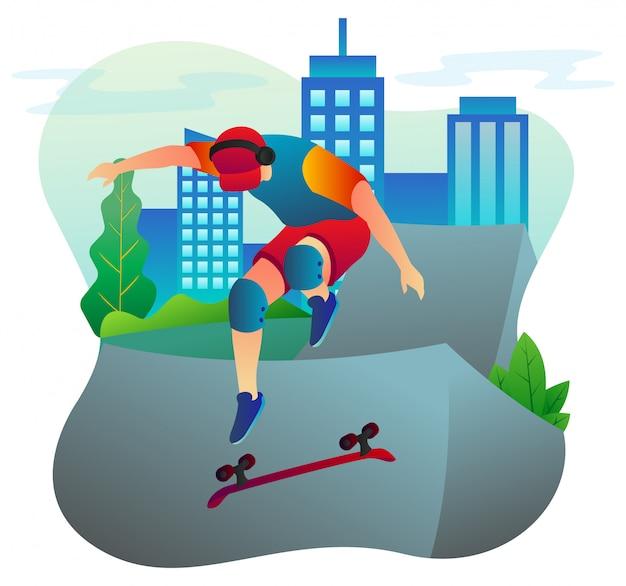 Landingpage-vorlage des professionellen skateboarders, der in einem stadtpark spielt