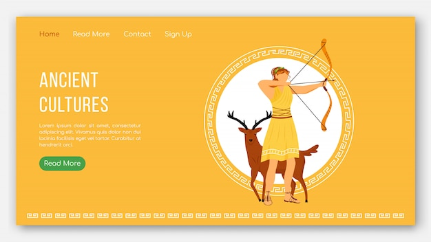 Landingpage-vorlage für alte kulturen. pantheon der griechischen götter. mythologie tradition website interface idee mit flachen illustrationen. homepage-layout, web-banner, webseiten-cartoon-konzept