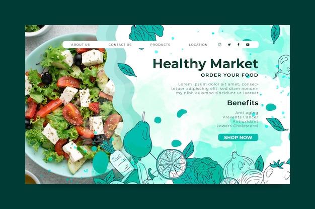 Landingpage-vorlage für bio- und gesunde lebensmittel