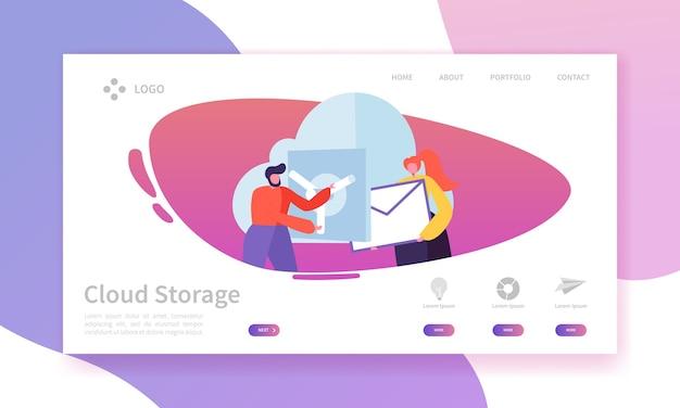 Landingpage-vorlage für cloud-speichertechnologie