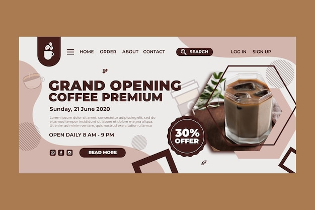 Landingpage-vorlage für coffeeshop