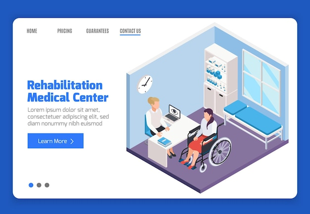 Landingpage-vorlage für das rehabilitationsmedizinische zentrum