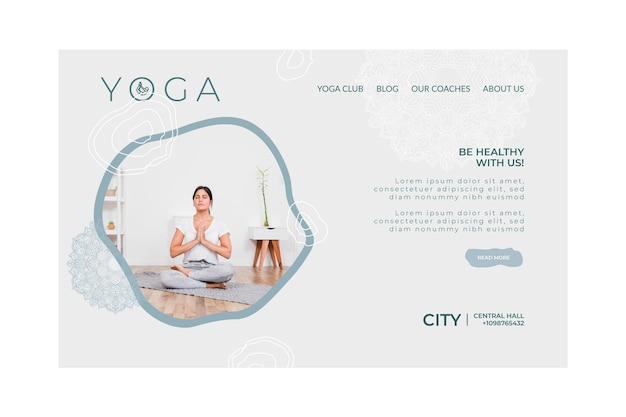 Landingpage-vorlage für das üben von yoga
