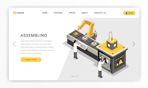 Landingpage-vorlage für den fertigungs- und konstruktionsprozess. hardware-ingenieure