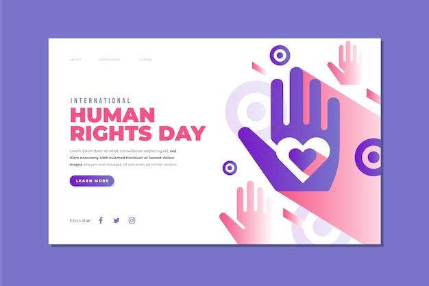 Landingpage-vorlage für den internationalen tag der menschenrechte mit farbverlauf