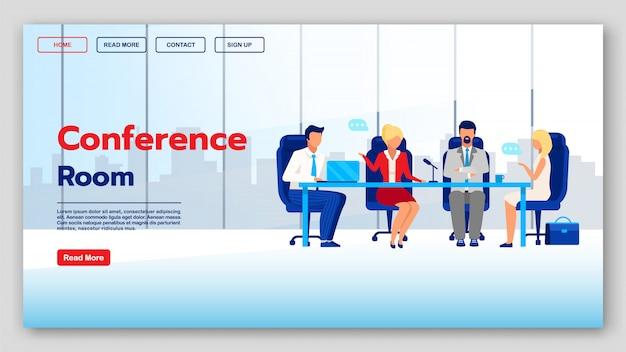 Landingpage-vorlage für den konferenzraum. website-idee der unternehmenskommunikations-website mit flachen abbildungen. coworking homepage layout. geschäftsseminar, webinar-webbanner-cartoon-konzept