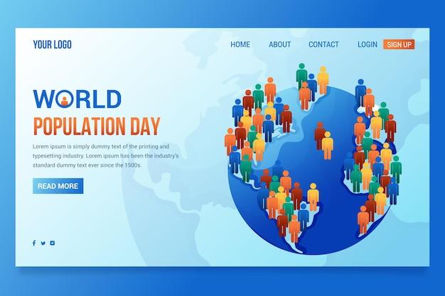 Landingpage-vorlage für den tag der weltbevölkerung mit farbverlauf